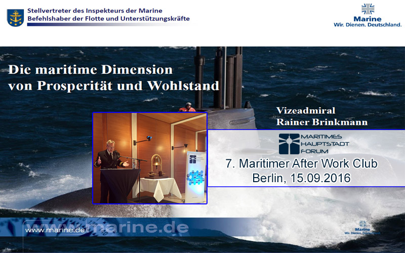 Vortrag Vizeadmiral Rainer Brinkmann beim 7. Maritimen After Work Club in Berlin